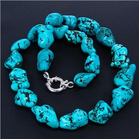 Breathtaking Turquoise Sterling Silver Necklace 16 inches long
