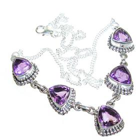 Marvelous Royal Amethyst Sterling Silver Necklace 18 inches long
