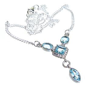 Marvelous Blue Topaz Sterling Silver Necklace 14 inches long