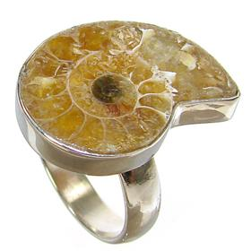 Ammonite Fossil Sterling Silver Ring size R 1/2