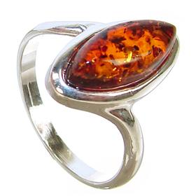 Honey Amber Sterling Silver Gemstone Ring size M