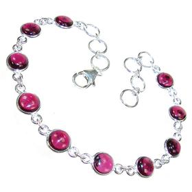 Glamorous Garnet Sterling Silver Bracelet