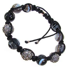 Shamballa Agate and Crystal Bracelet Unisex