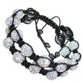 Double Shamballa White Crystal Bracelet