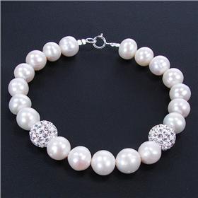 Elegant White Pearls Sterling Silver Bracelet