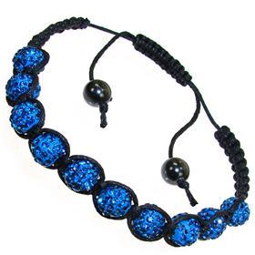 Shamballa Blue Crystal Bracelet Unisex