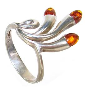 Honey Amber Sterling Silver Gemstone Ring size Q 1/2