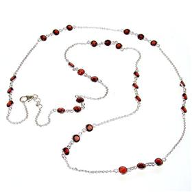 Elegant Garnet Sterling Silver Necklace 18 inches long