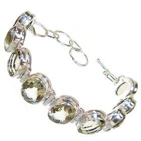 Chunky Green Amethyst Sterling Silver Bracelet