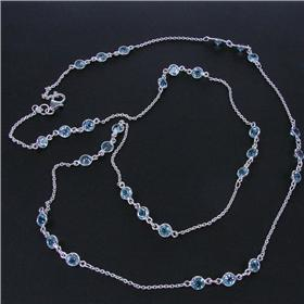 Marvelous Blue Topaz Sterling Silver Necklace 30 inches long