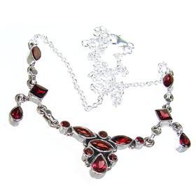 Elegant Garnet Sterling Silver Necklace 18 inches long