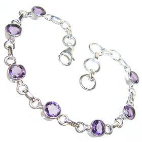 Amethyst Quartz Sterling Silver Bracelet