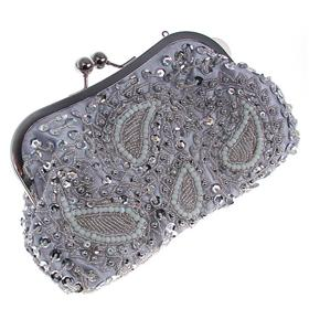 Medium Sized Beaded Satin Clutch Bag with Long and Short Chain