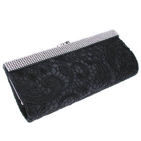 Dimonate Strap Bow on Face Lace Satin Clutch Bag with Long Chain