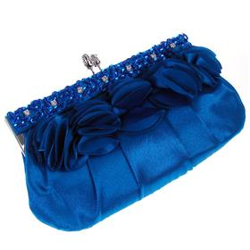 Medium Sized Satin Clutch Bag with Long and Short Chain