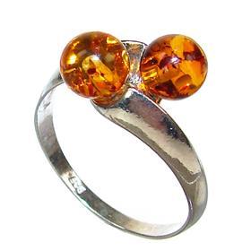 Honey Amber Sterling Silver Gemstone Ring size P 1/2