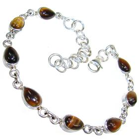 Tiger Eye Sterling Silver Gemstone Bracelet