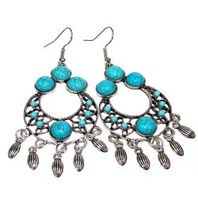 Large Created Turquoise Fashion Jewellery Earrings