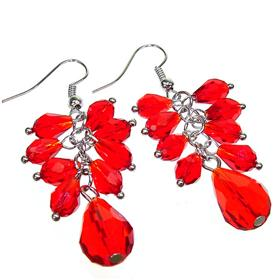 Large Red Quartz Fashion Earrings