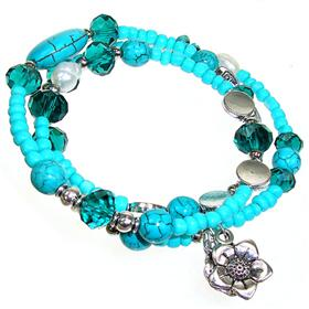 Created Turquoise Silver Plated Bangle Bracelet