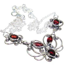 Elegant Garnet Sterling Silver Necklace 16 inches long