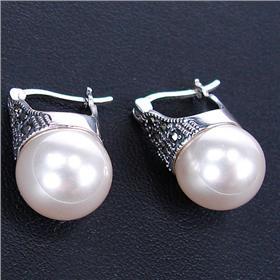 Elegant Created Pearl Sterling Silver Earrings