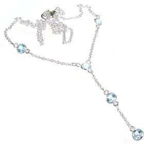 Marvelous Blue Topaz Sterling Silver Necklace 17 inches long