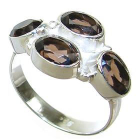 Smoky Quartz Sterling Silver Ring size N 1/2