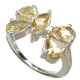 Sunny Citrine Sterling Silver Ring size N