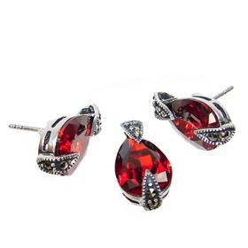 Red Quartz Sterling Silver Set
