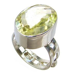 Large Citrine Sterling Silver Ring size N