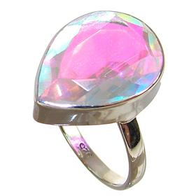 Madagascar Fire Quartz Sterling Silver Ring size Q 1/2