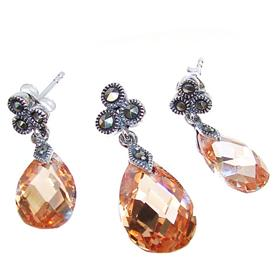 Artisan Stunning Honey Topaz Quartz Sterling Silver Set