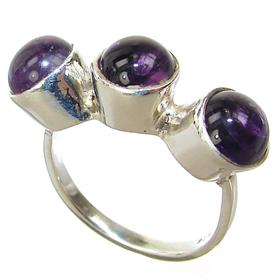Delightful Amethyst Sterling Silver Ring size N