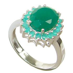 Created Emerald Sterling Silver Ring size P 1/2