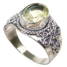 Fancy Citrine Sterling Silver Ring size N 1/2