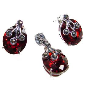 Garnet Quartz Sterling Silver Set