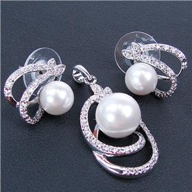 Stunning White Pearl Sterling Silver Set