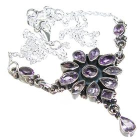 Marvelous Royal Amethyst Sterling Silver Necklace 15 inches long
