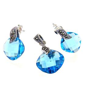 Incredible Blue Quartz Sterling Silver Set