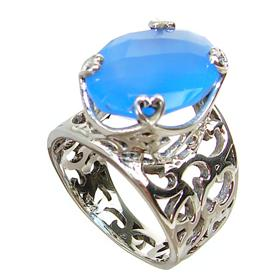 Solid Blue Onyx Sterling Silver Ring size P
