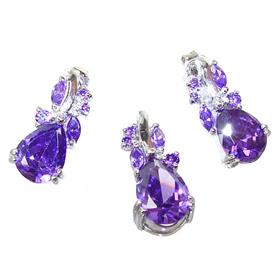 Heavenly Amethyst Quartz Sterling Silver Set