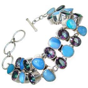 Large Mystic Topaz Sterling Silver Bracelet