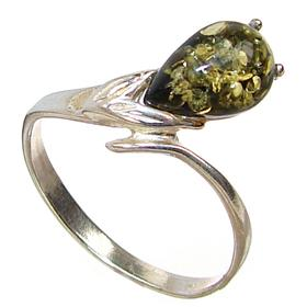 Honey Amber Sterling Silver Gemstone Ring size K 1/2