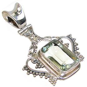 Huge Green Amethyst Sterling Silver Pendant