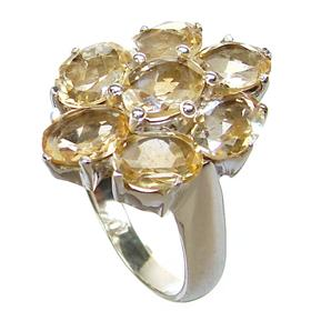 Large Citrine Sterling Silver Ring size P 1/2