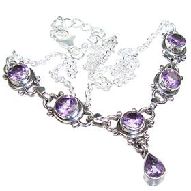 Royal Amethyst Sterling Silver Necklace 17 inches long