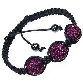 Shamballa Purple Crystal Unisex Bracelet