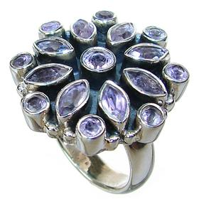 Chunky, Large Amethyst Sterling Silver Ring size O 1/2