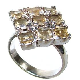 Large Citrine Sterling Silver Ring size Q 1/2